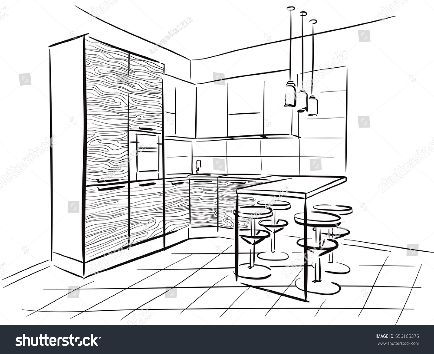 Interior Design Sketch Kitchen Dinner Table Stock Vector Royalty