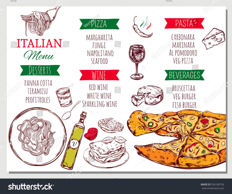 Italian restaurant menu traditional dishes beverages stock - Italian cuisine menu list ...