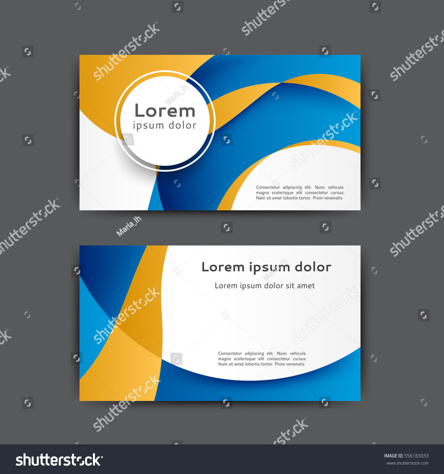 Color Business Card Template Abstract Lines Stock Vector