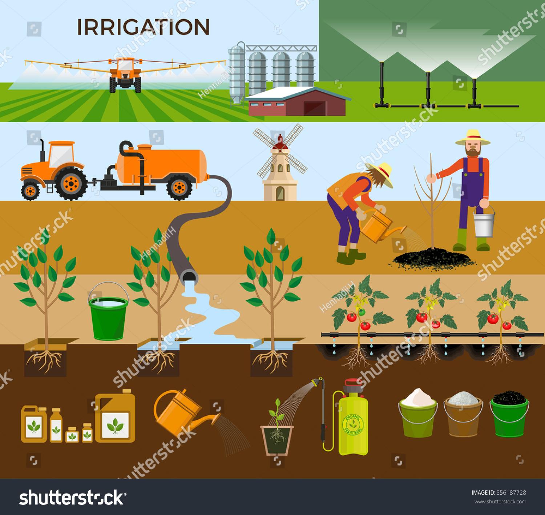 Set Vector Illustrations Irrigation Stock Vector 556187728