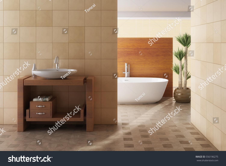 Brown Bathroom Including Bath Sink 3d Stock Photo 556196275 ...
