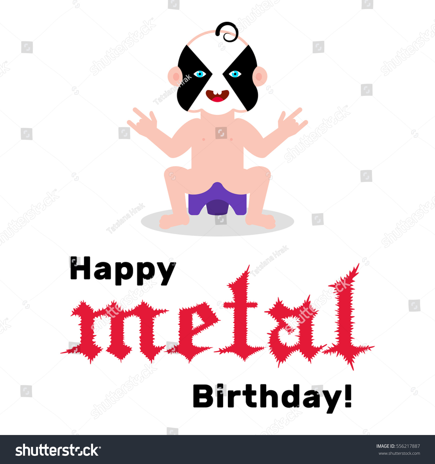 Funny Birthday Card Baby With Black Metal Corpse Paint And Horn Hand Gesture Sitting On