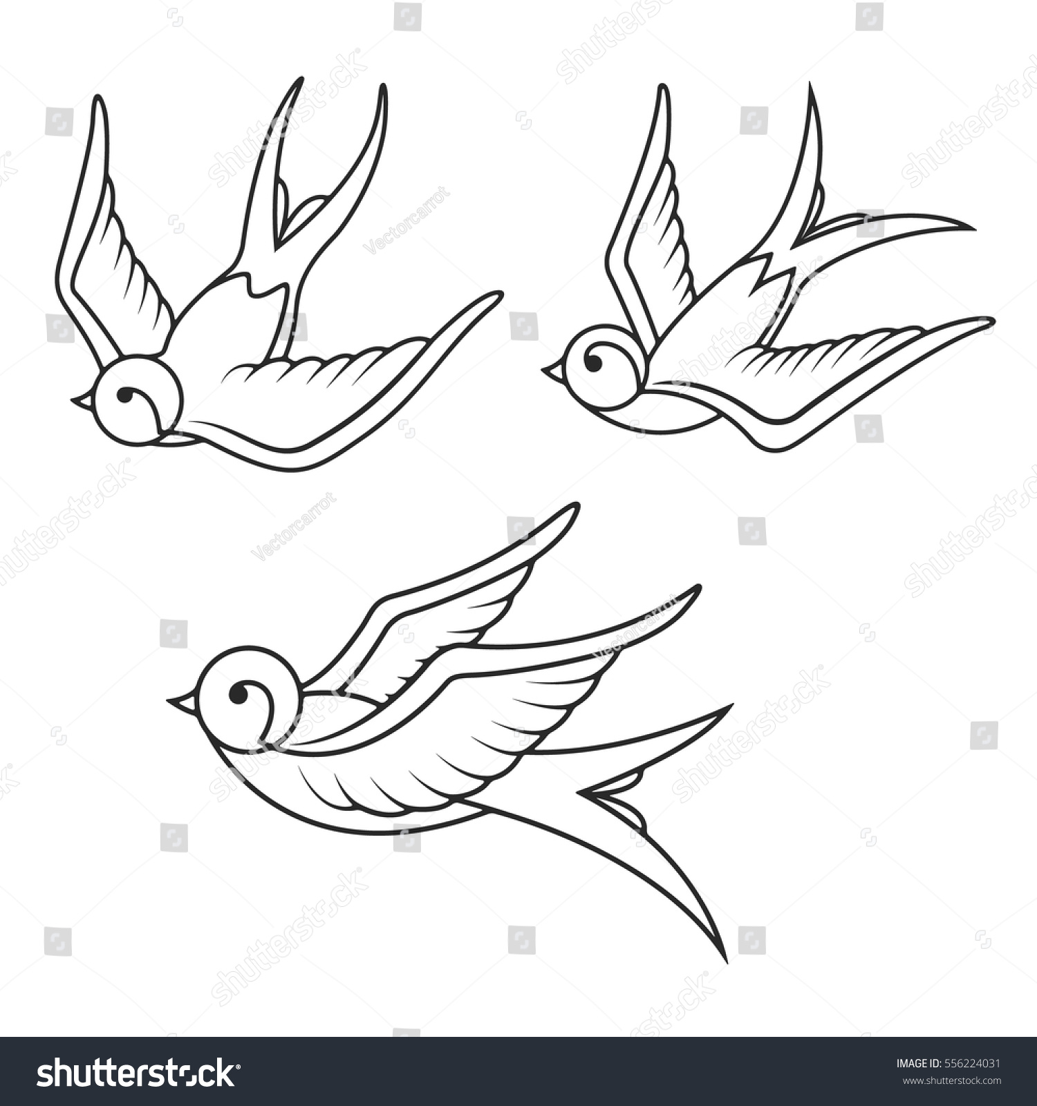 Set of sketches of flying swallows stock vector illustration - Set Of Swallow Tattoo Templates Isolated On White Background Bird Icons Vector Illustration