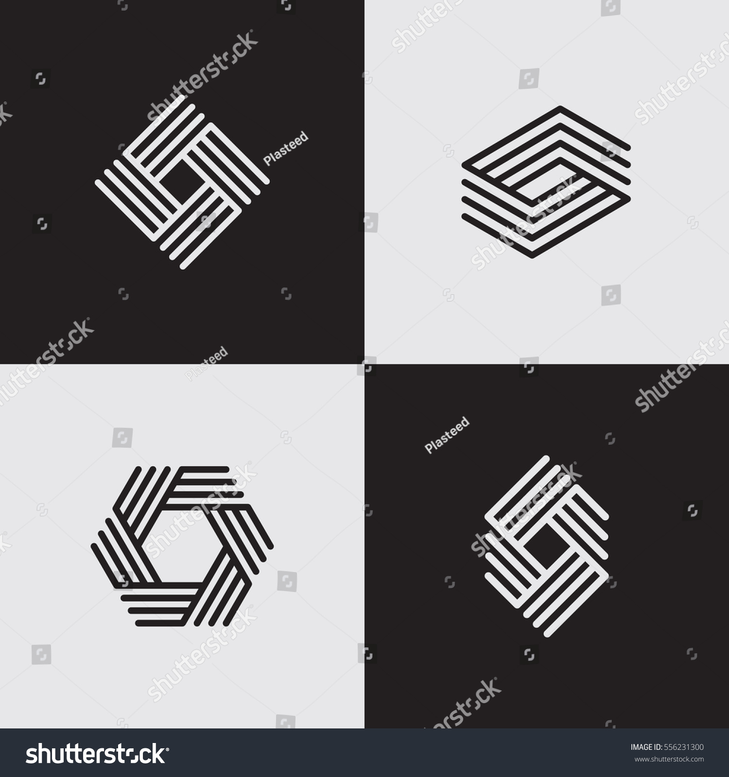 Modern Line Logos Creative Geometric Shapes Stock Vector