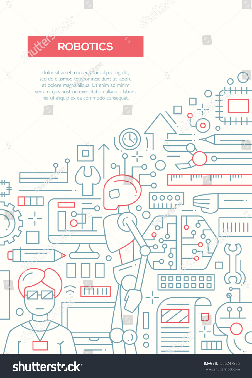 robotics plain line design brochure poster stock illustration