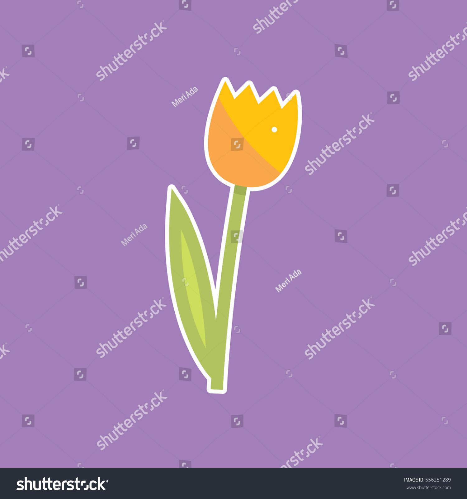 yellow tulip on purple background vector stock vector 556251289