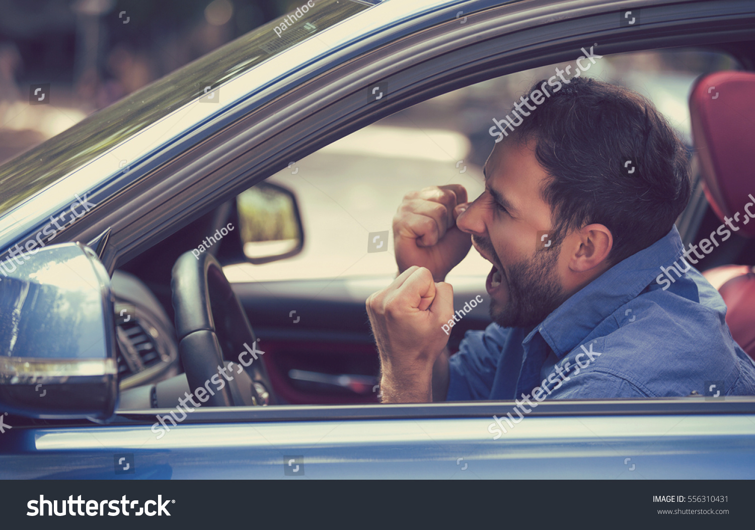 Grimace face clip art stock photo woman pulls a face in upset - Side Profile Angry Driver With Fists Up Screaming Negative Human Emotions Face Expression