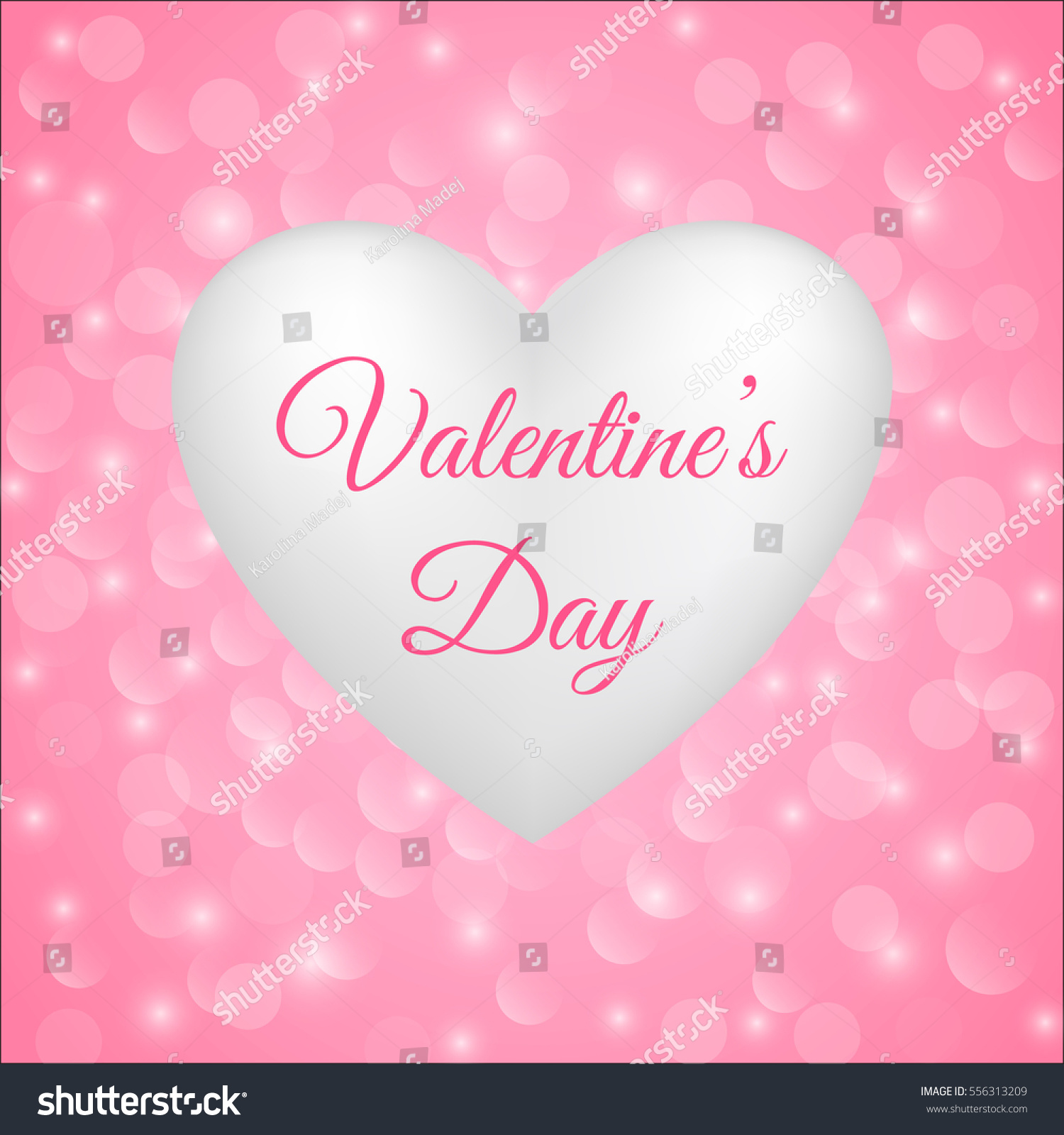 Valentines Card White Heart On Pink Stock Vector Royalty Free