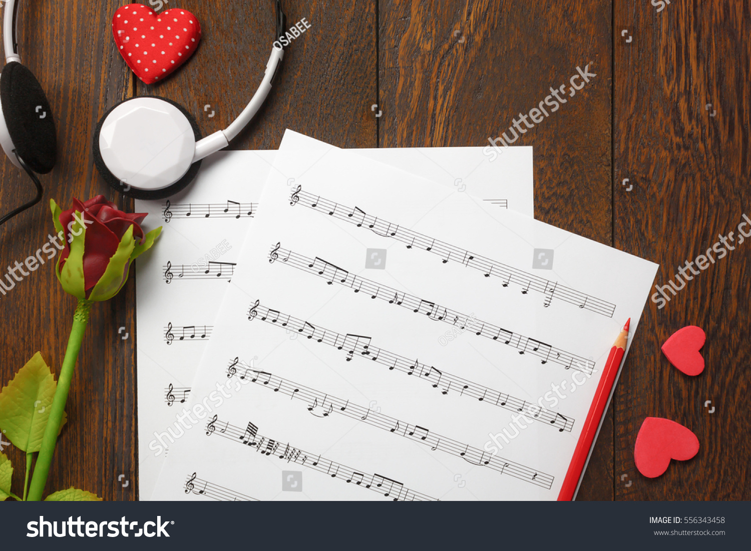 Top View Valentines Day Love Song Stock Photo Royalty Free
