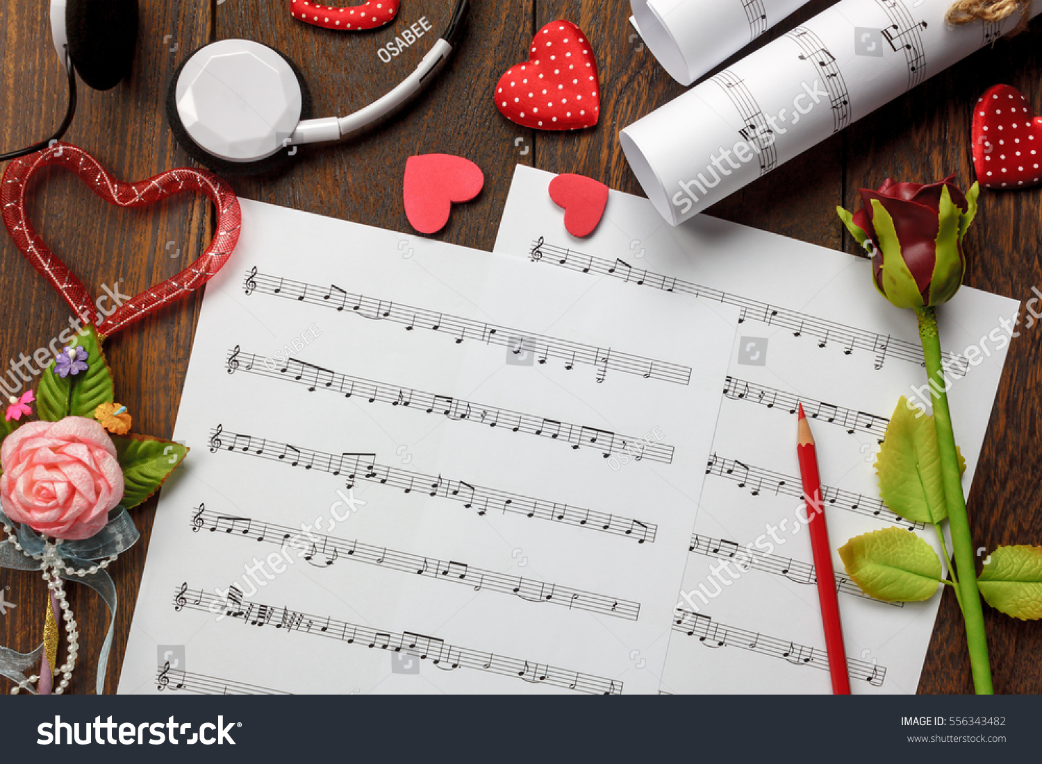 Royalty Free Top View Valentines Day Love Song Music 556343482