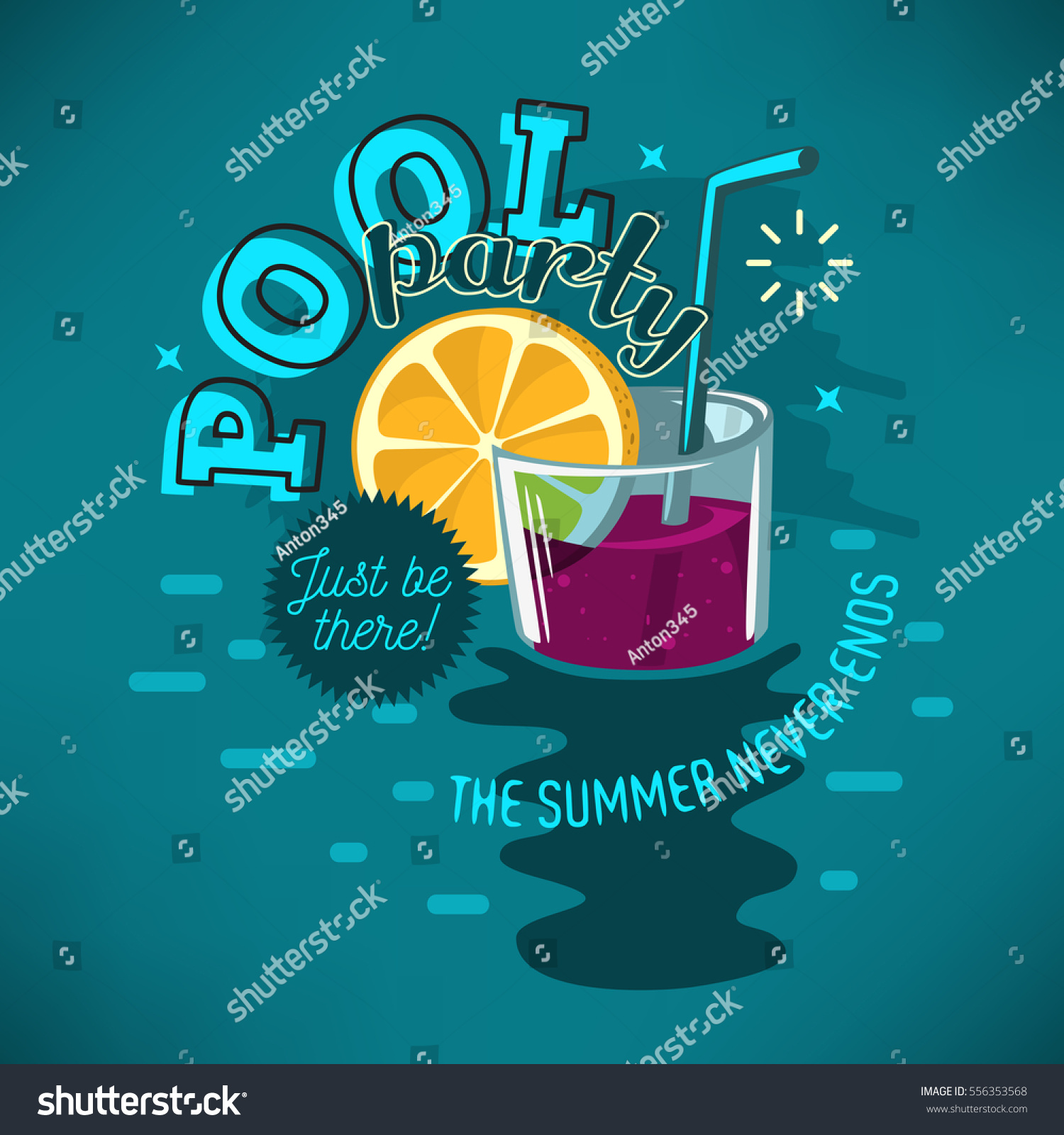 Pool party poster design glass cocktail stock vector for Pool design graphic