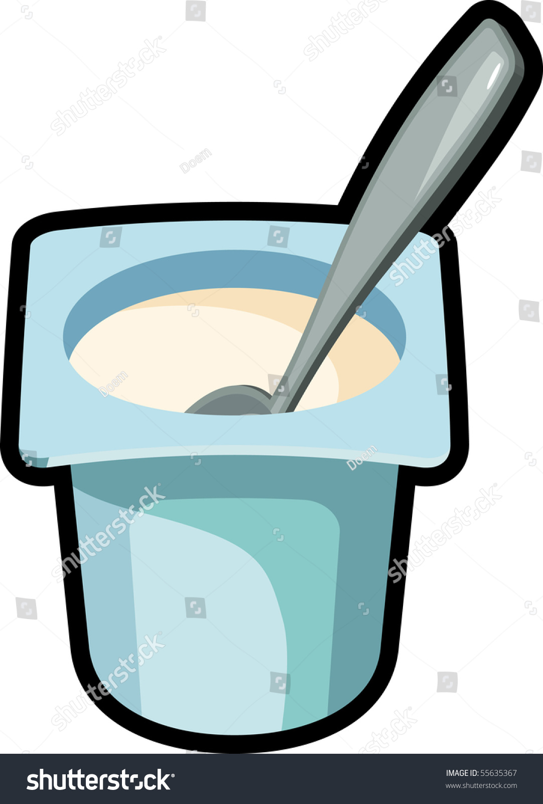 Yogurt Spoon Stock Vector Illustration 55635367 : Shutterstock
