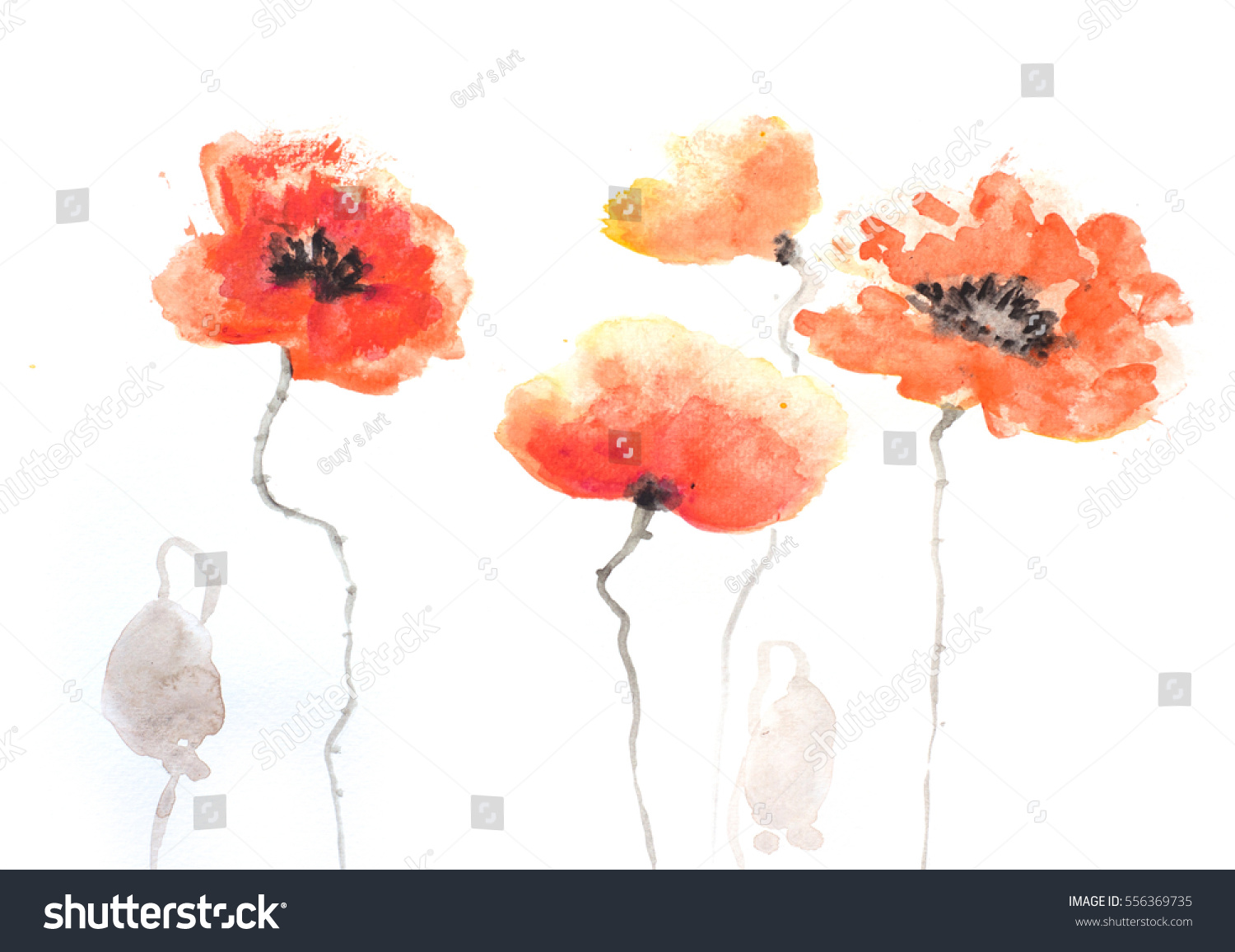 Red Poppy Flowers Painting On White In Impressionism Style Ez Canvas