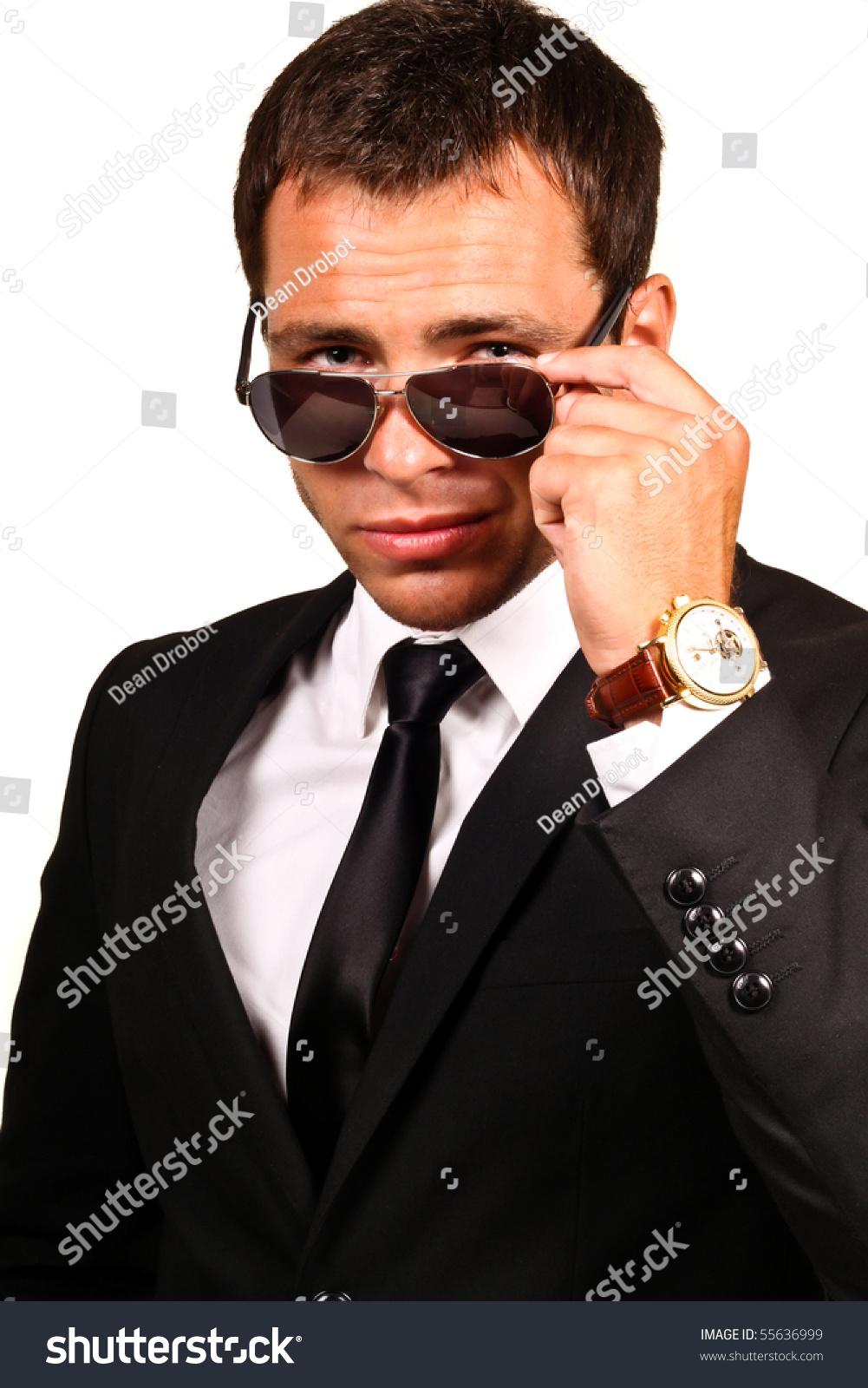 Portrait Handsome Young Man Elegant Suit Stock Photo ...