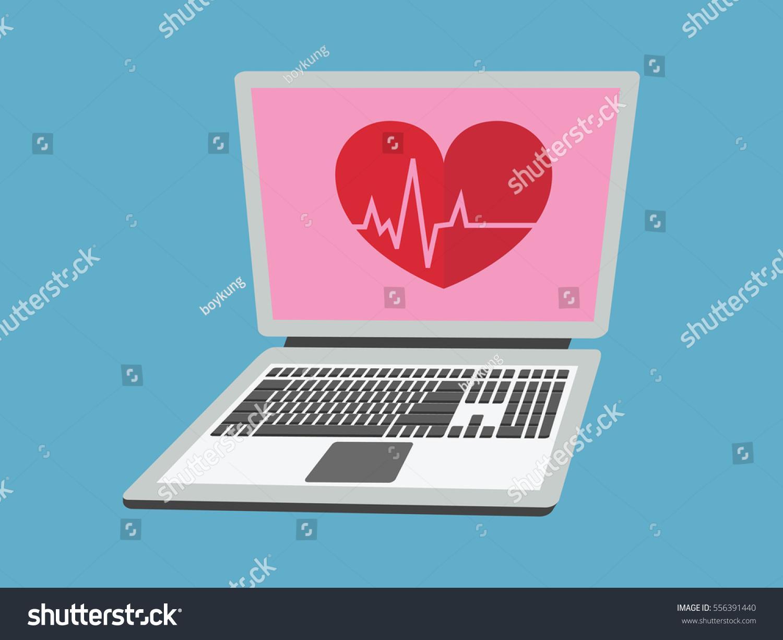 Heart symbol on laptop displayvector illustration stock vector heart symbol on laptop displayctor illustration buycottarizona Choice Image