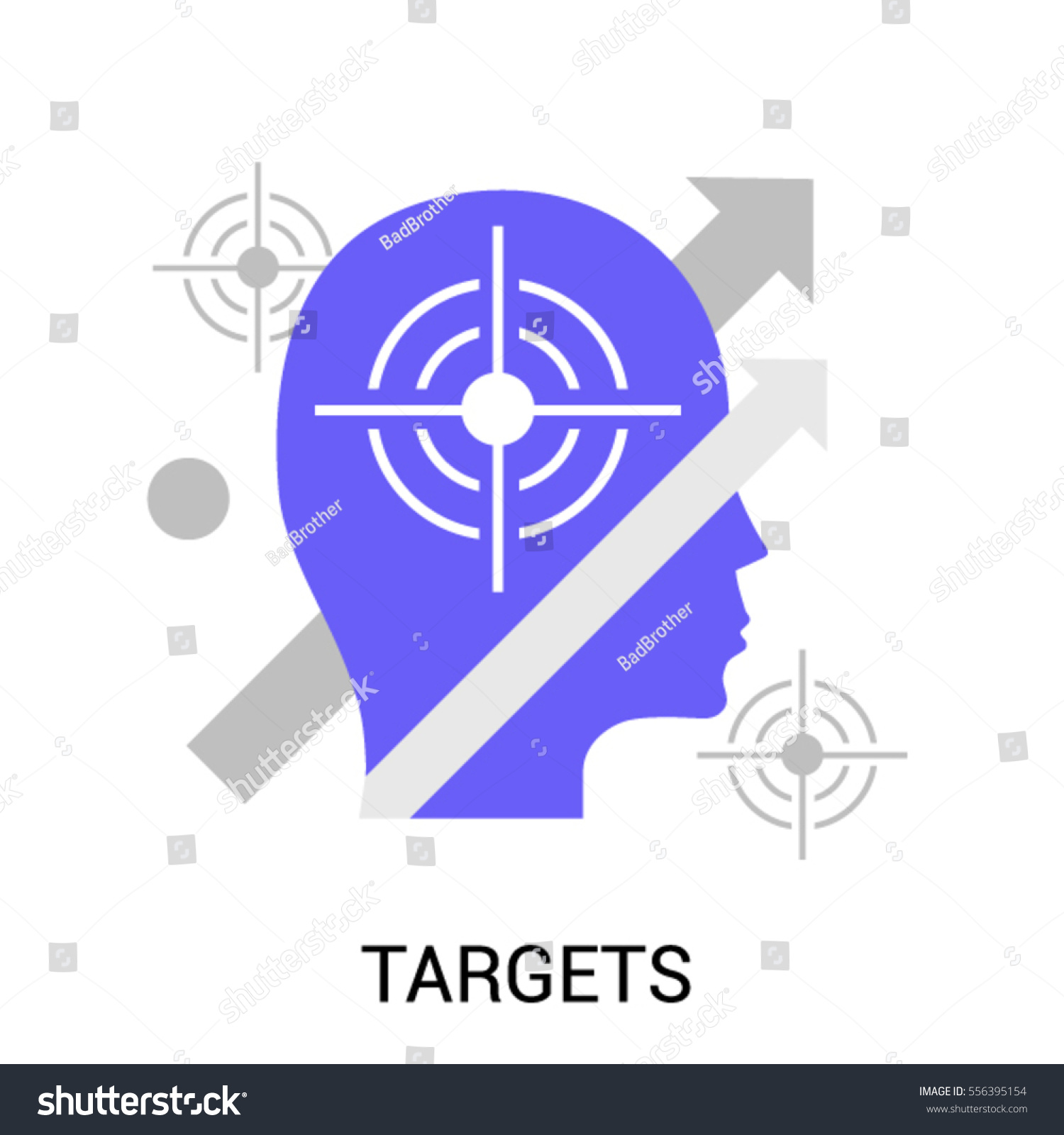 Flat Line Concept Target Objective Personal Stock Vector Royalty