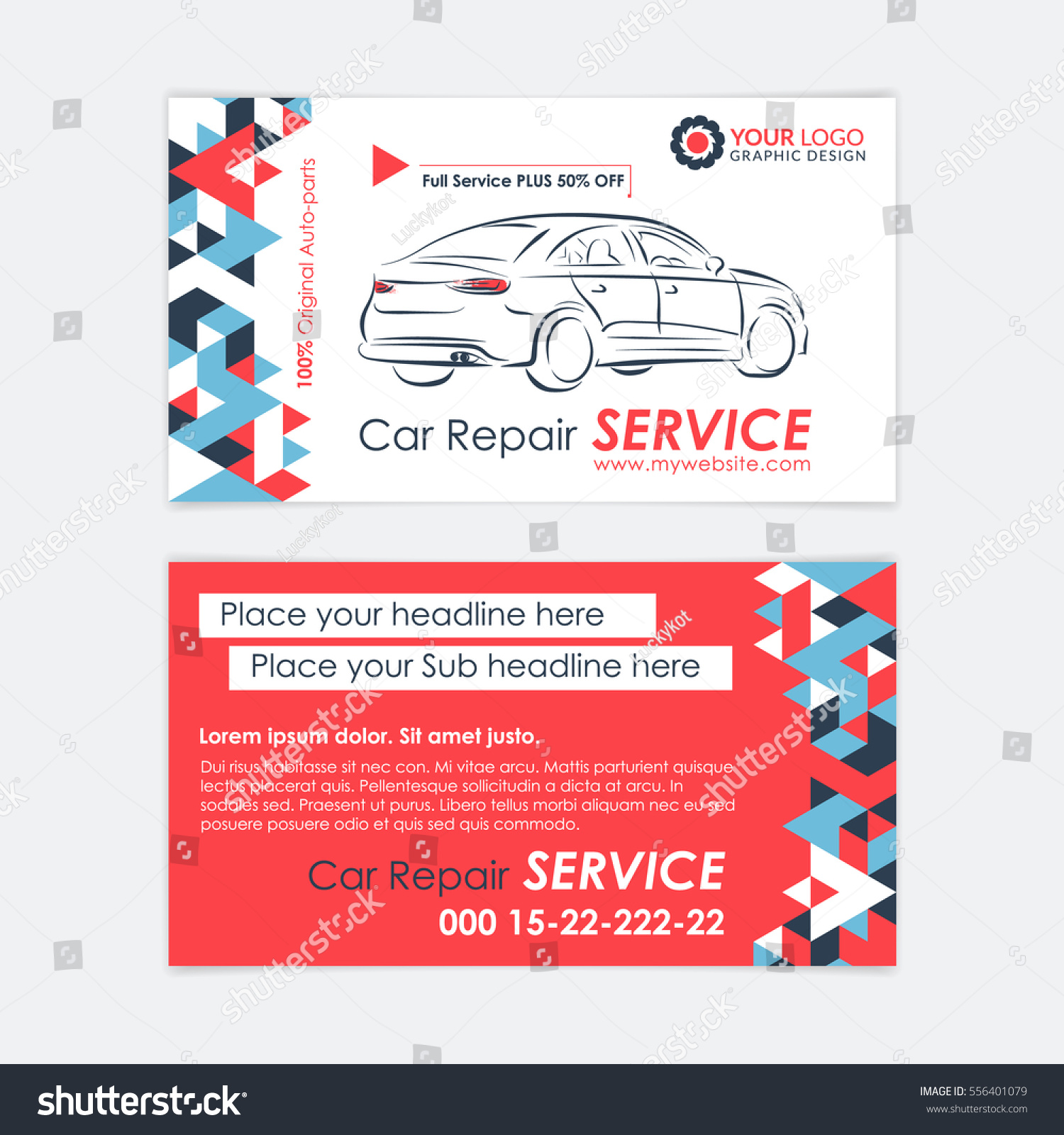 Automotive service business card template car stock vector royalty automotive service business card template car diagnostics and transport repair create your own business wajeb Gallery