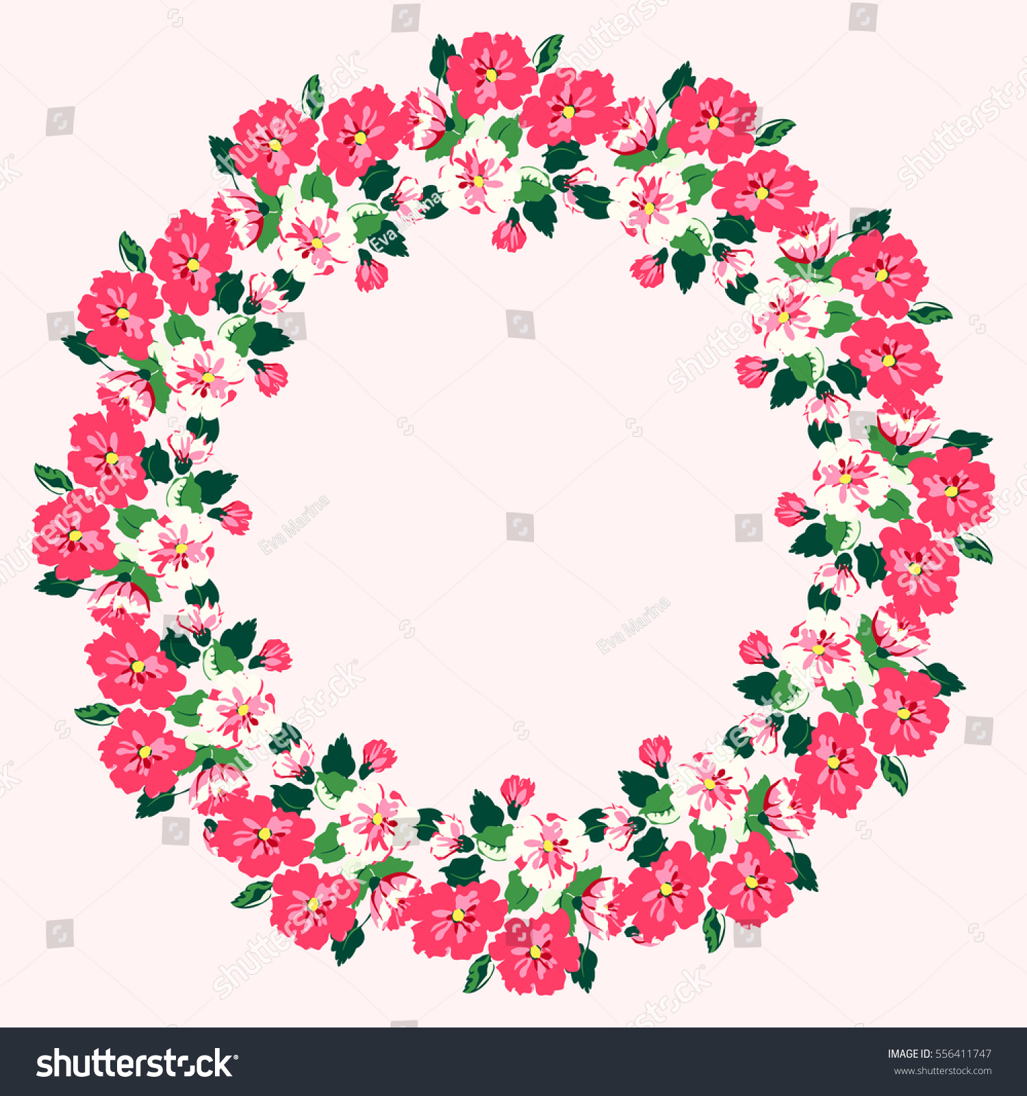 Floral Round Frames Cute Pink Flowers Stock Illustration 556411747