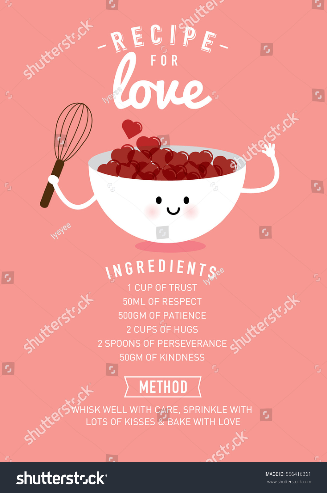 Recipe Love Valentines Day Greetings Template Stock Vector Royalty
