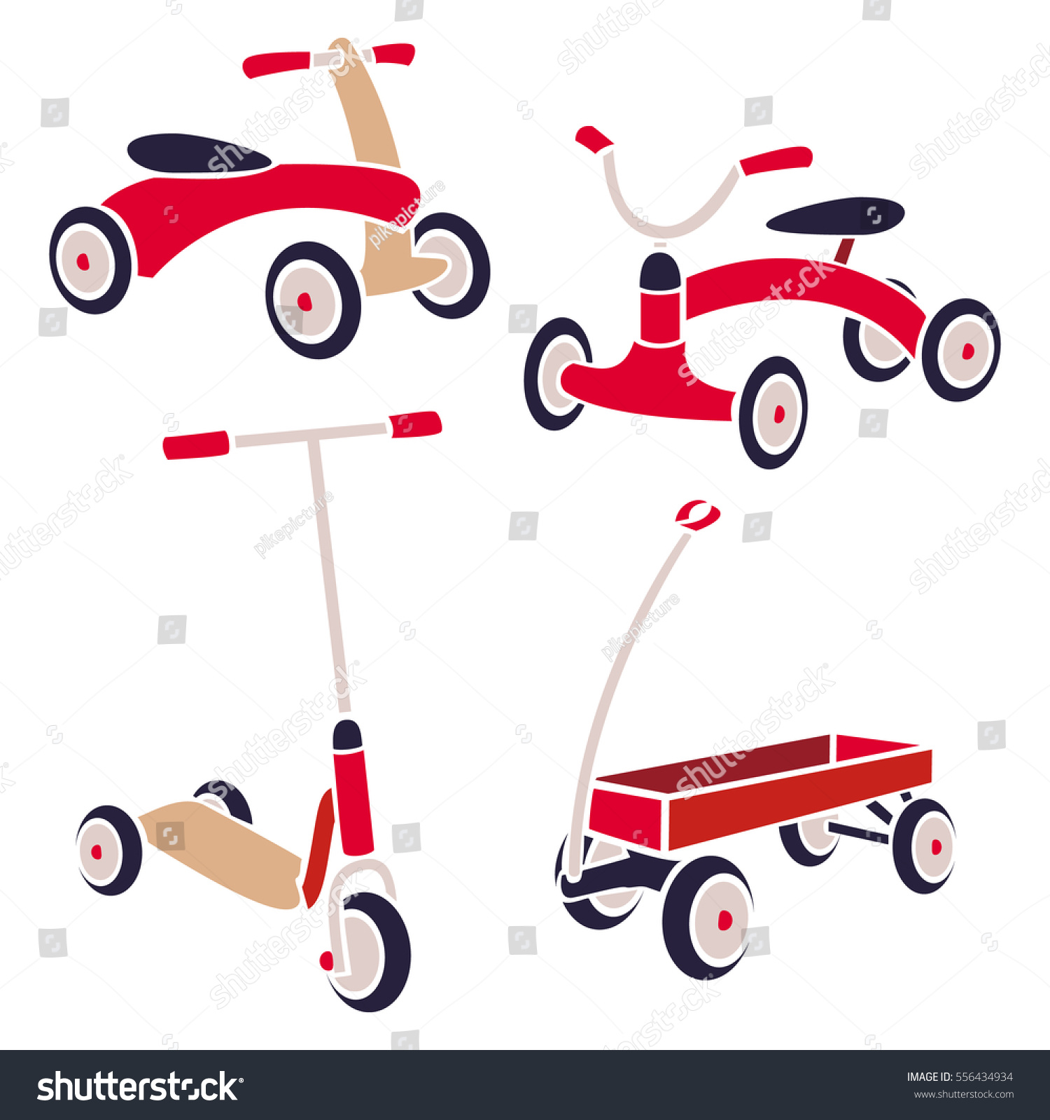 Vintage Kids Toys Bicycle Kick Scooter Stock Vector