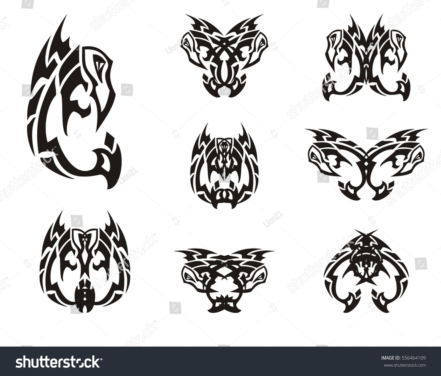 Peaked eagle symbols tribal style black stock vector 556464109 peaked eagle symbols in tribal style black and white eagle stylization and double symbols formed biocorpaavc