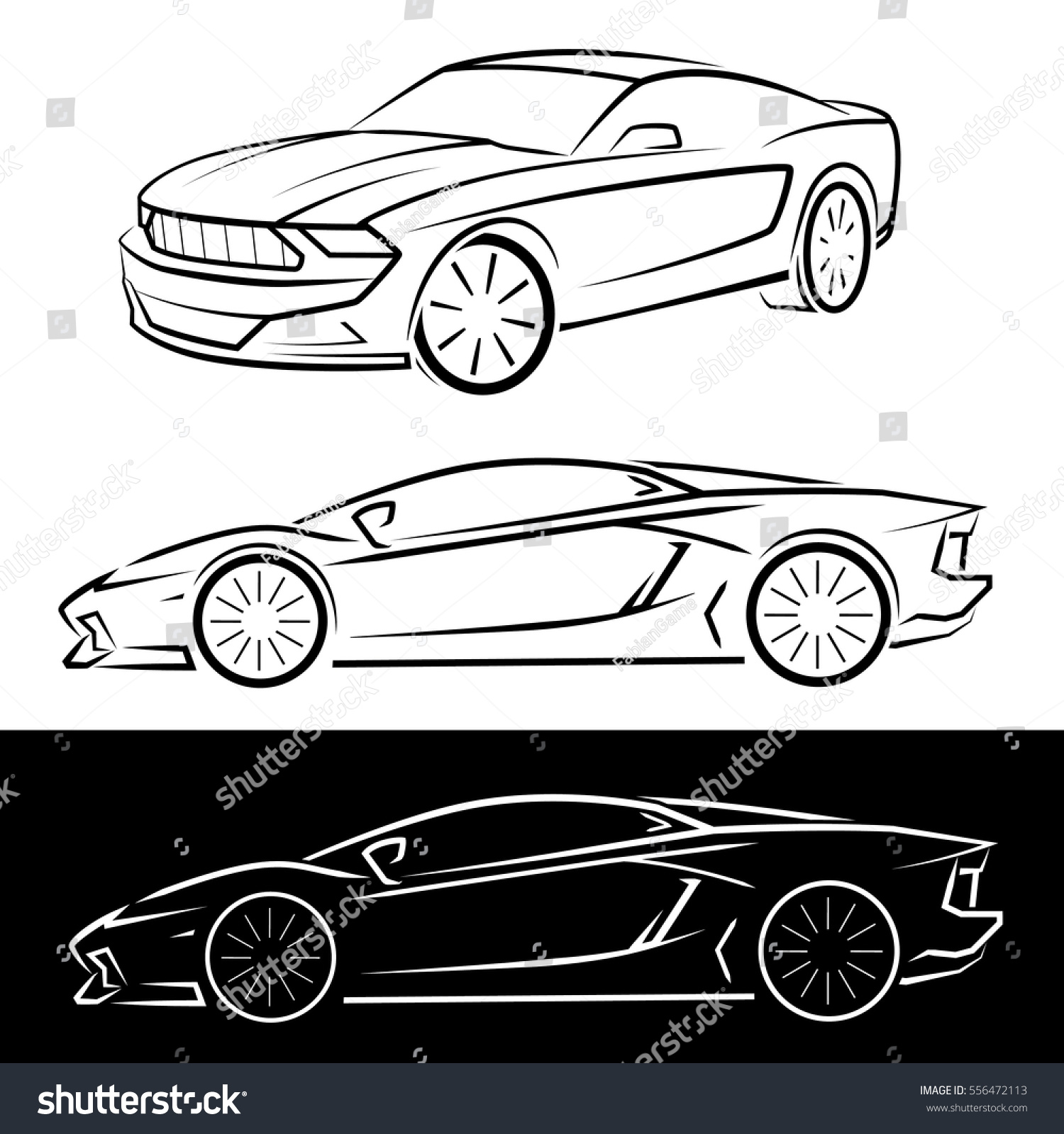 Sport Cars Black And White Silhouettes