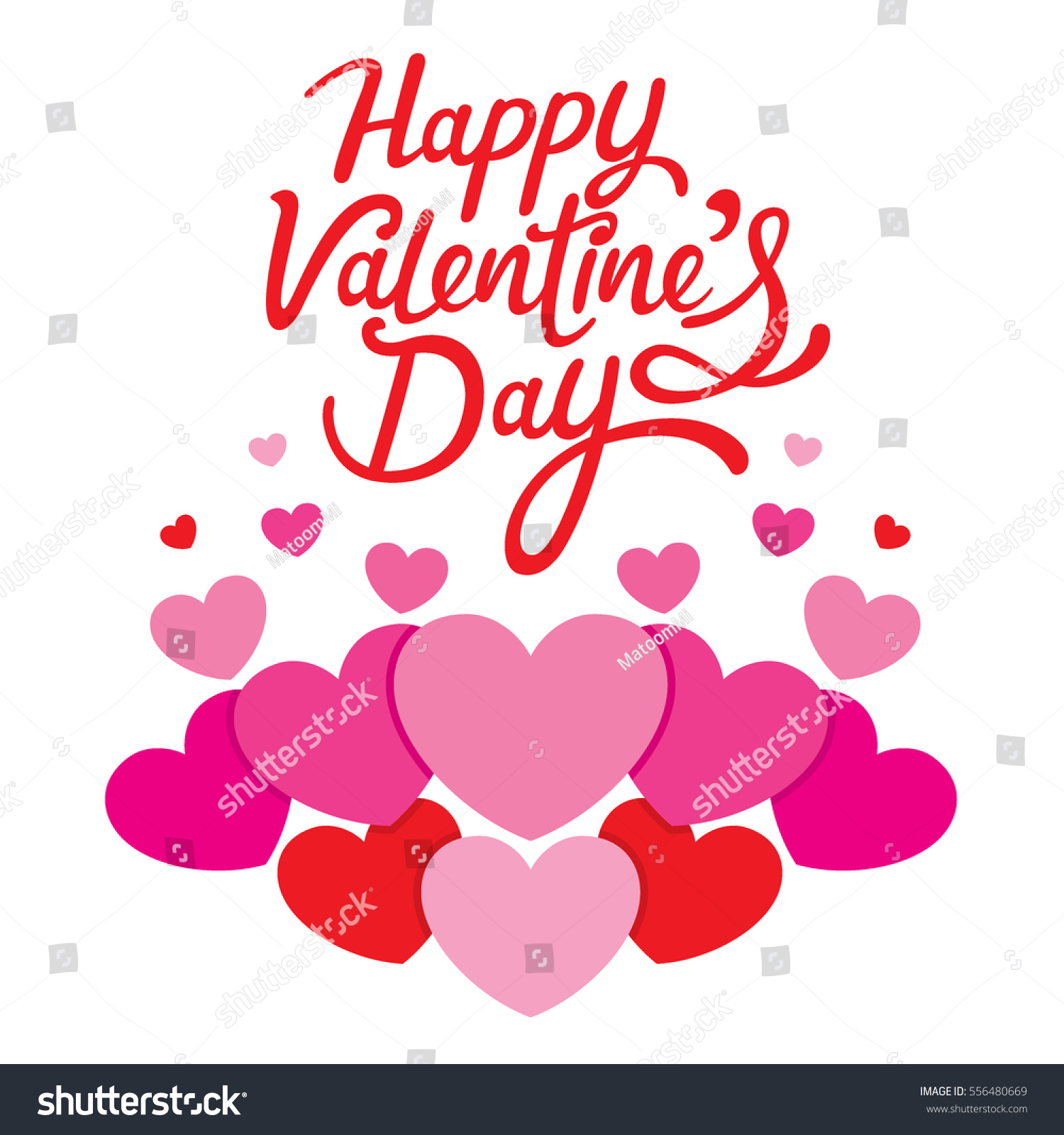Happy Valentines Day Lettering Hearts Love Stock Vector Royalty