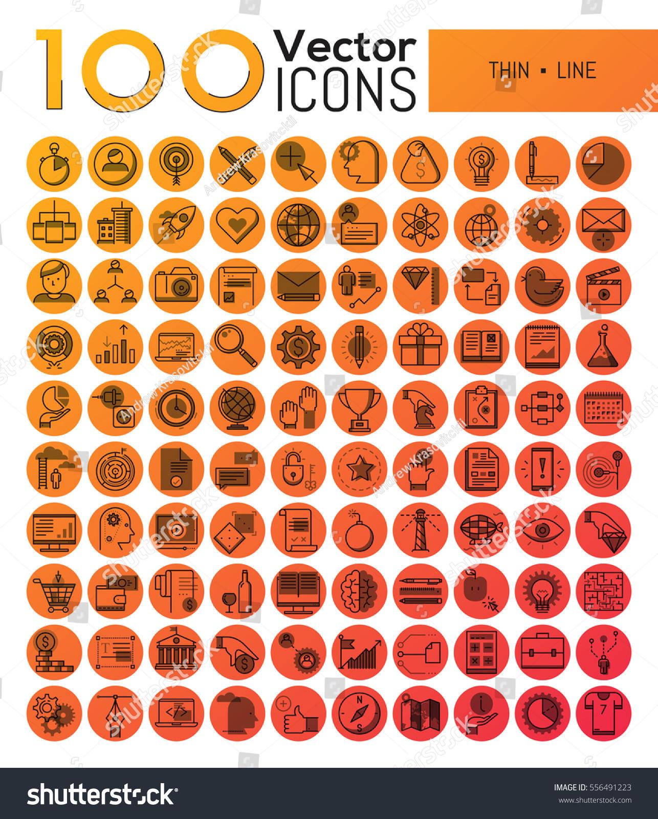 Bundle 100 Modern Symbols Thin Line Stock Vector Royalty Free
