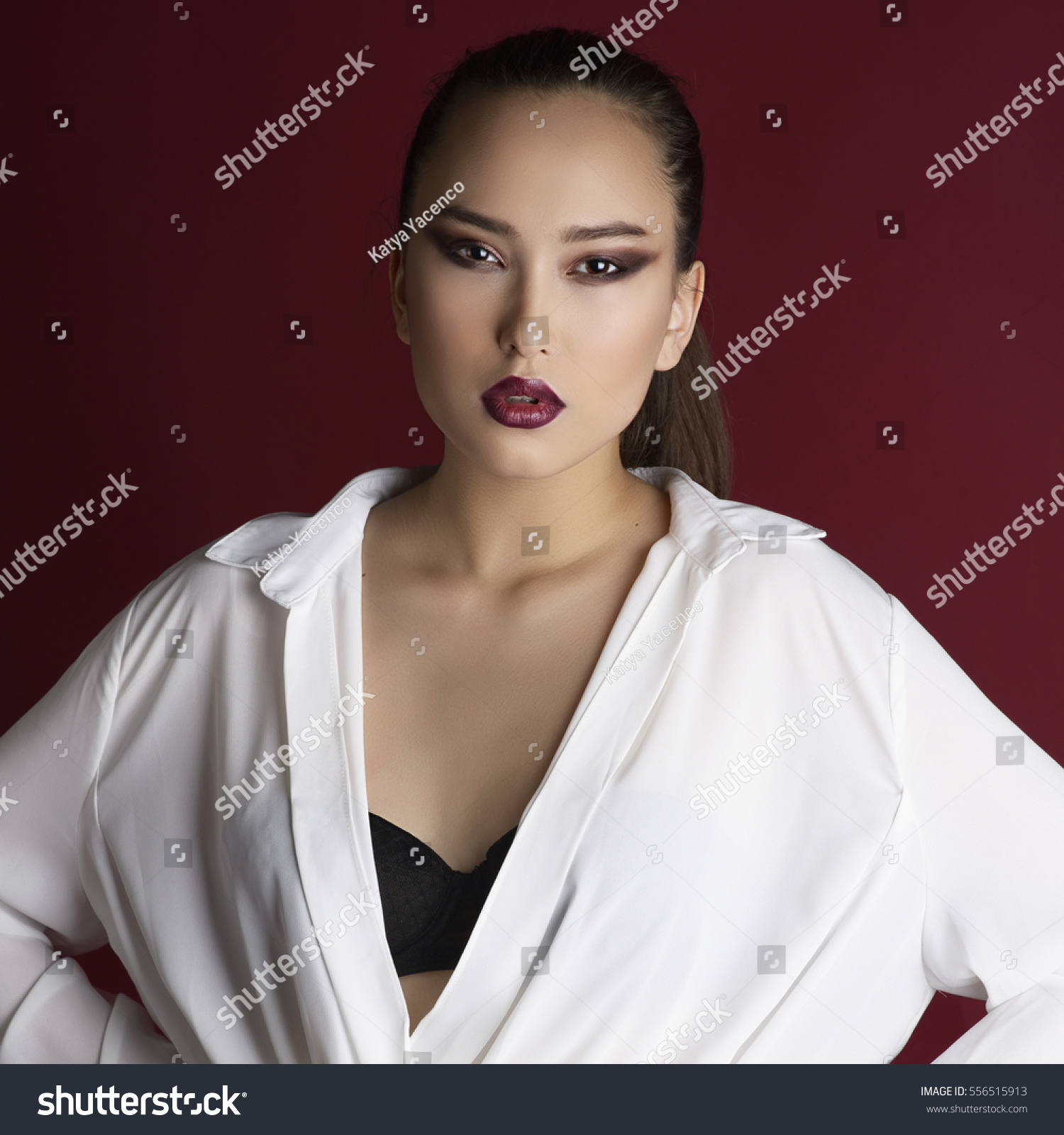 Asian Girl In White Shirt And Black Bra Makeup Smokey Eyes Red Lips
