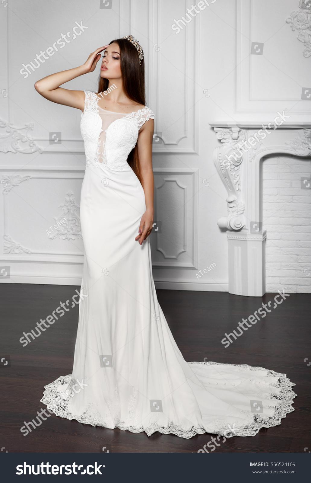 Fashion Bride Gorgeous Wedding Dress Studio Stock Photo (Edit Now ...