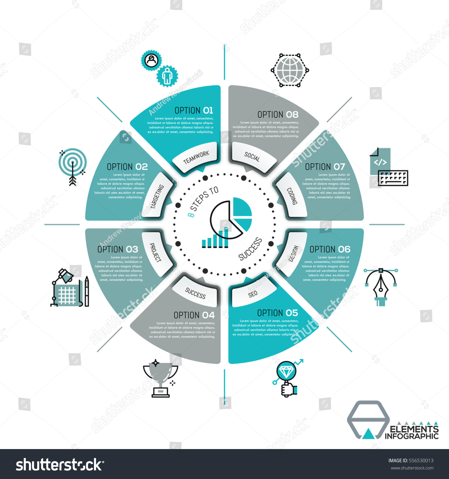 Unique Infographic Design Template Circular Diagram Stock Vector 556530013