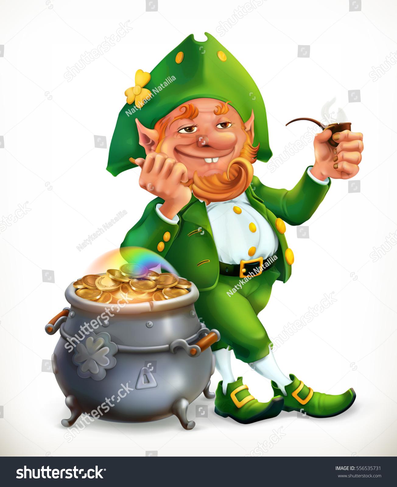 leprechaun pot gold coins feast saint stock vector 556535731