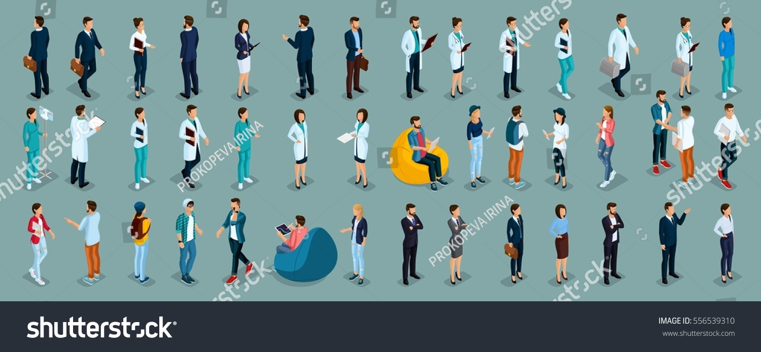 Trend Isometric People Different Professions Hospital