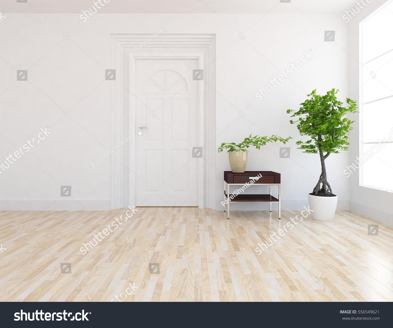 White Empty Room Door Living Room Stock Illustration 556549621 ...