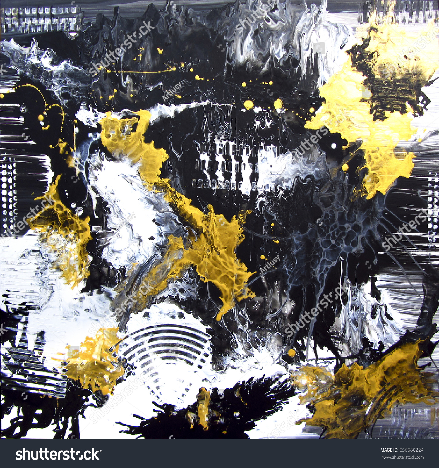 Abstract hand painted black and white with gold background acrylic painting on canvas wallpaper