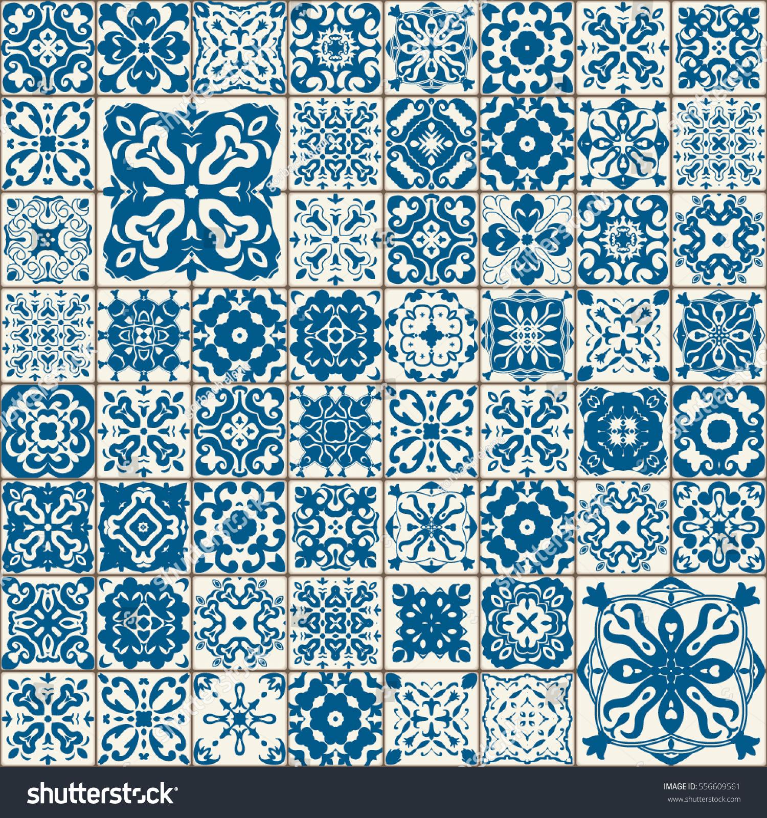 Seamless Tile Pattern Colorful Lisbon Mediterranean Stock Vector ...
