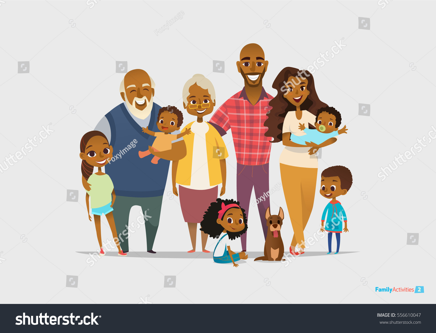 Cartoon Characters Mixed Together : Big happy family portrait three generations stock vector