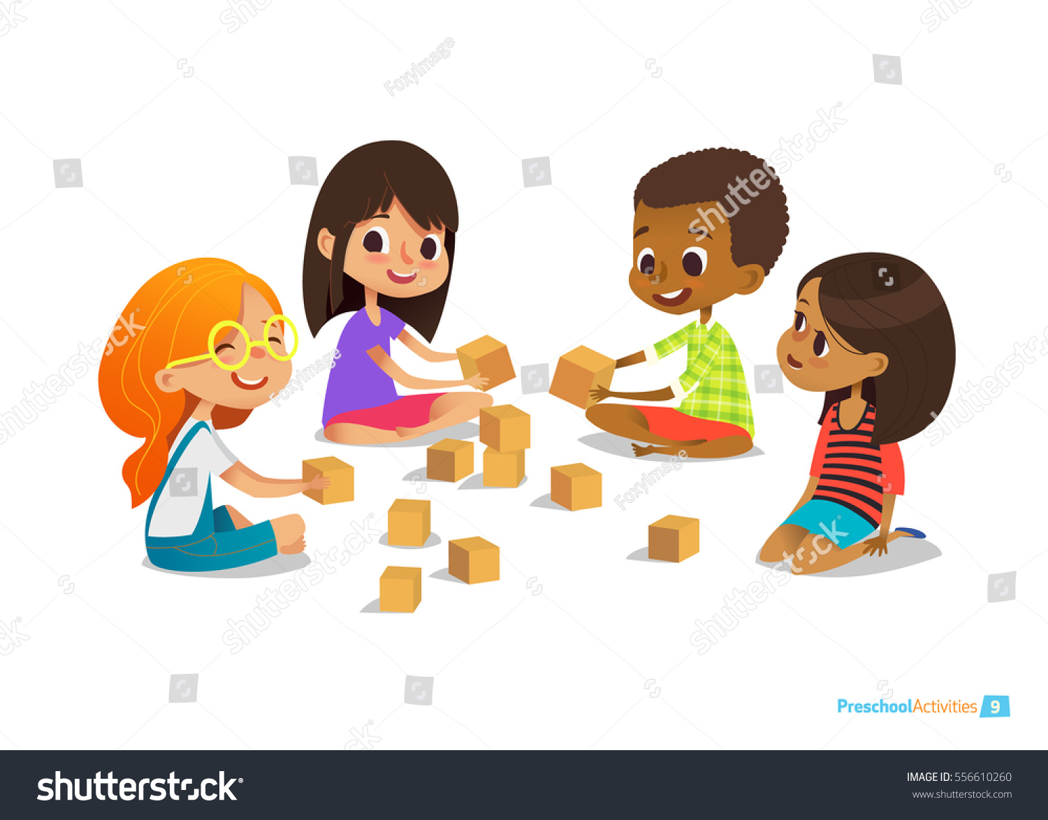 laughing smiling kids sit on floor stock vector 556610260 shutterstock. Black Bedroom Furniture Sets. Home Design Ideas