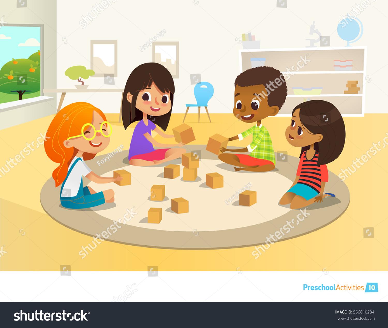 children sit circle on round carpet stock vector (royalty free