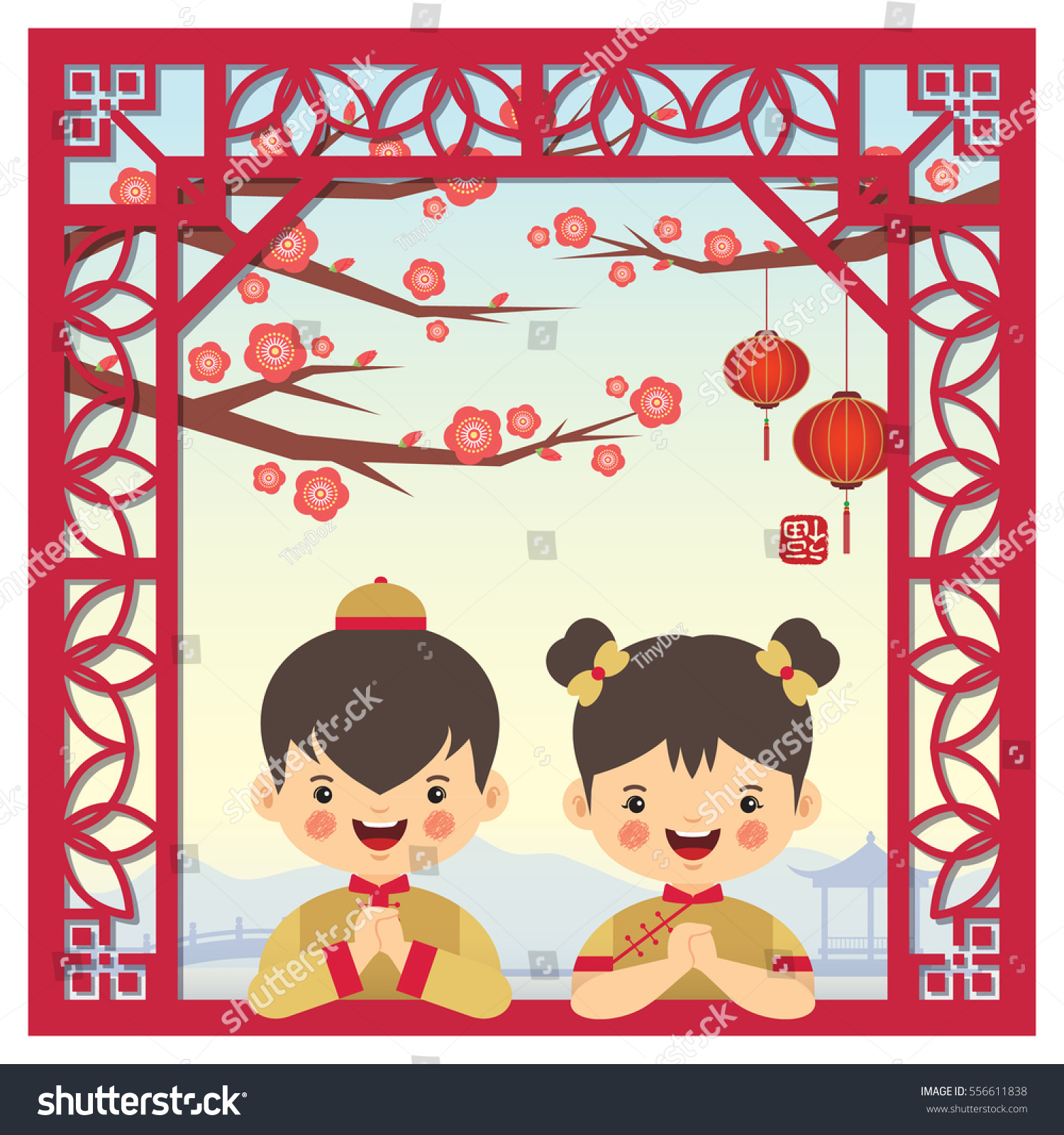 Chinese new year greeting card cute stock vector 556611838 chinese new year greeting card with cute cartoon chinese boy and girl with chinese vintage frame kristyandbryce Choice Image