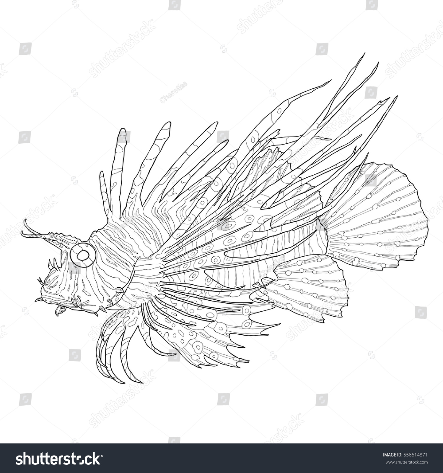Tropical Fish Scorpion Fish Red Lionfish Stock Vector (Royalty Free ...