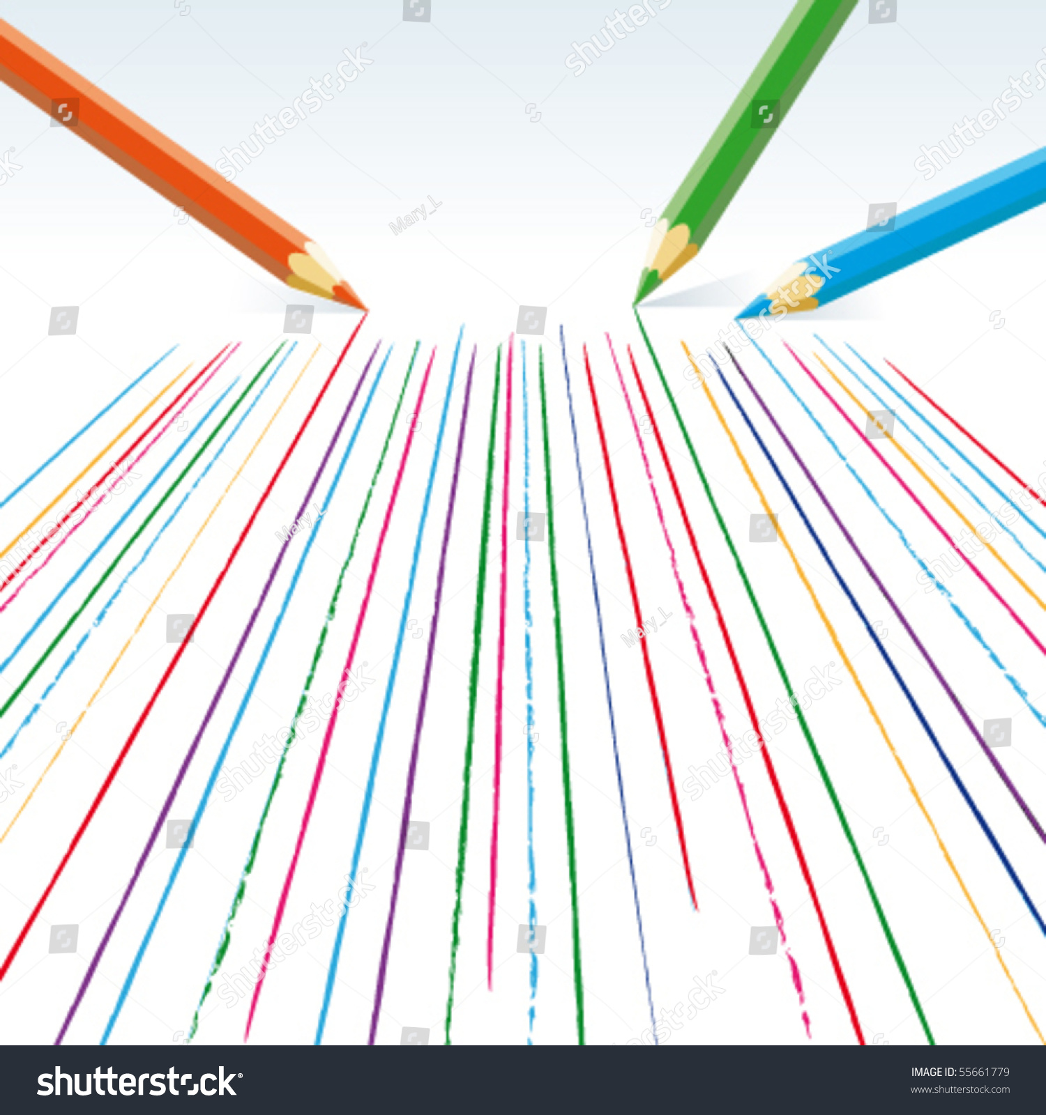 Vector Drawing Straight Lines : Vector colour pencils drawing straight lines