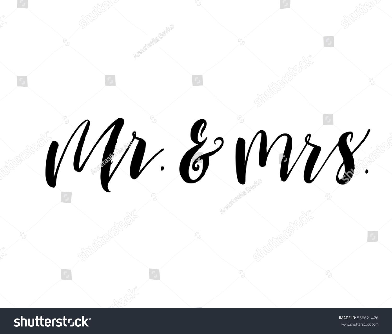 Mr mrs postcard phrase valentines wedding stock vector