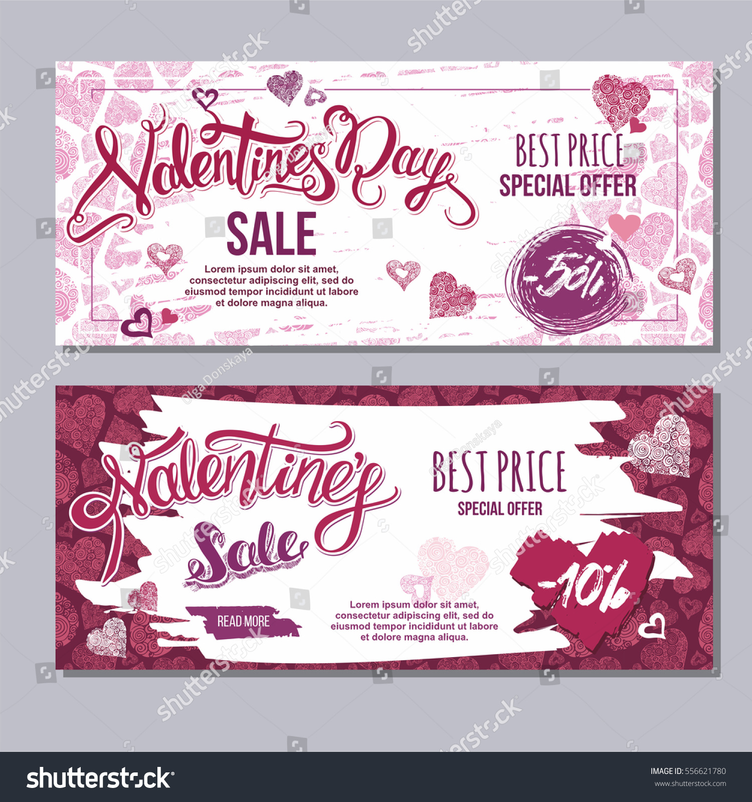 Happy Valentine Day Flyer Template Hand Stock Vector