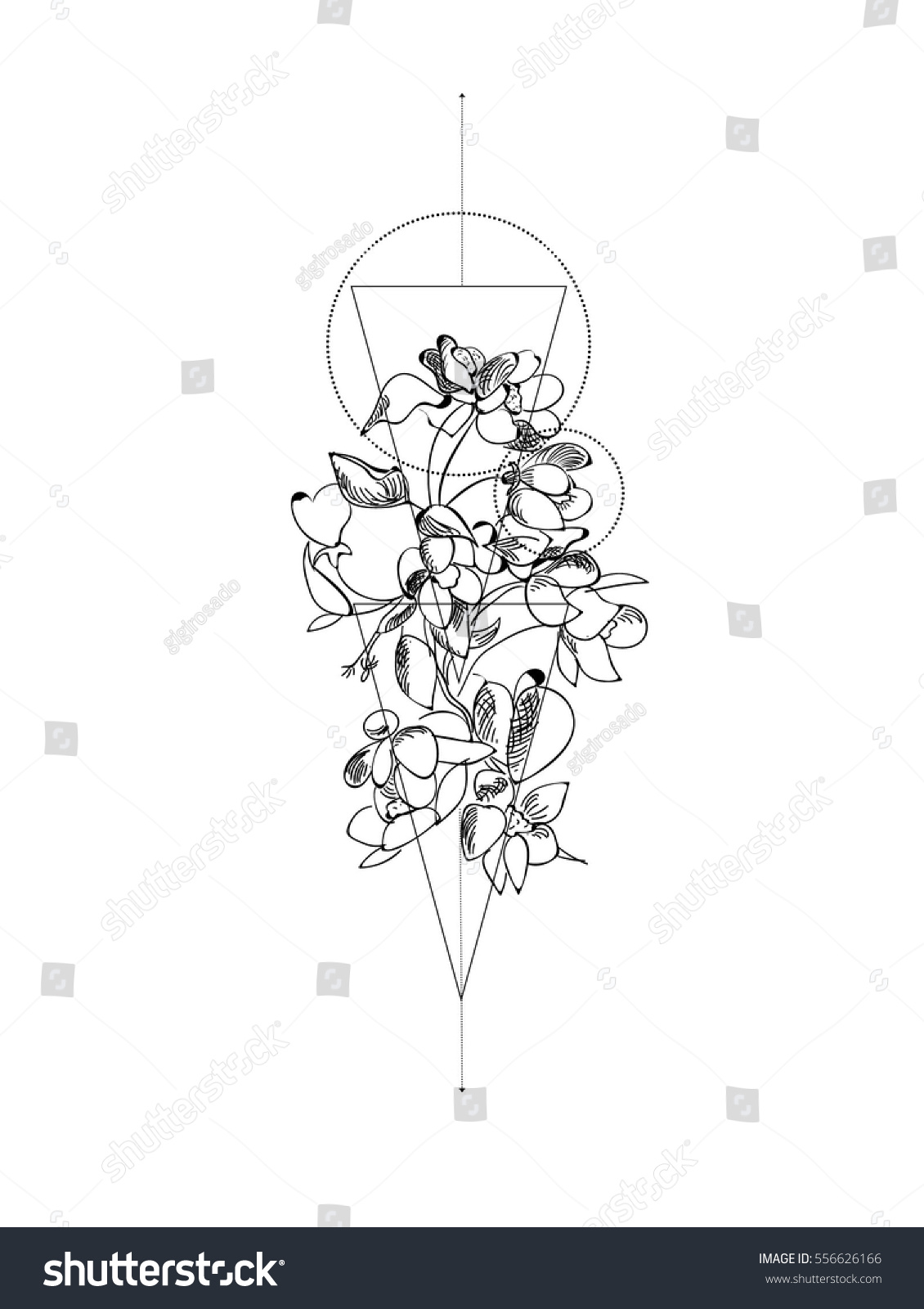 Wild Flower Geometric Tattoo Wild Flower Vector De Stock Libre De