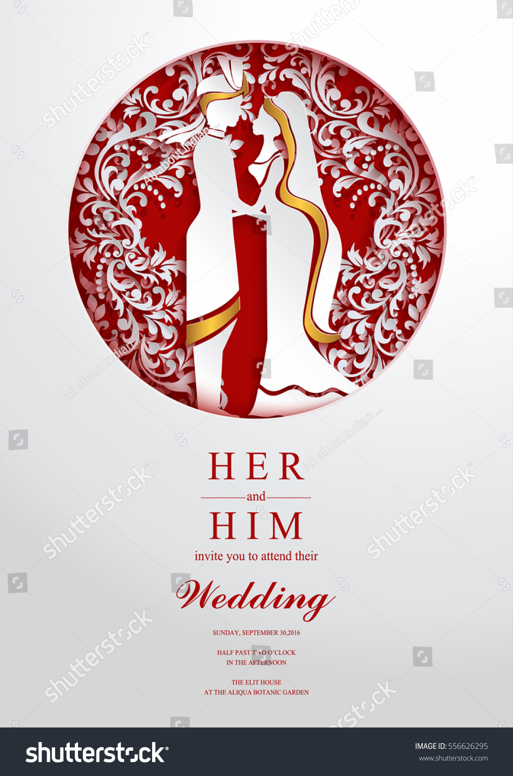 Indian Wedding Invitation Card Templates Paper Stock Vector ...