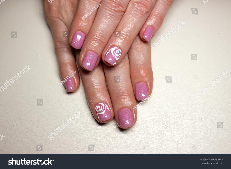 Beautiful Manicure Design Pink Nails White Stock Photo 556634149 ...