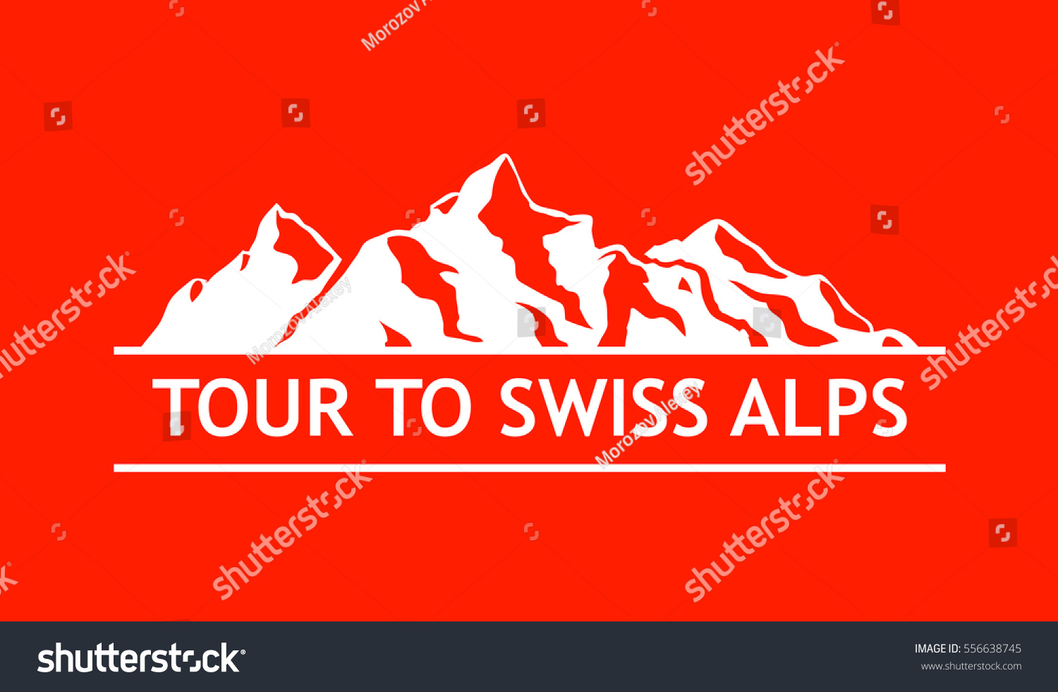white logo swiss mountains isolated on stock vector 556638745