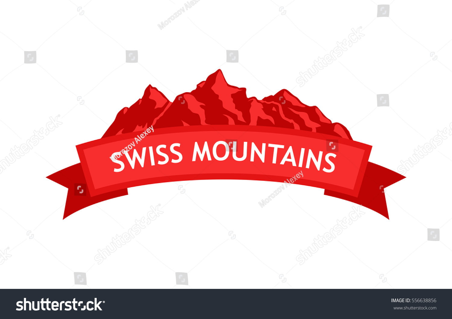 logo swiss mountains red colors ribbon stock vector 556638856