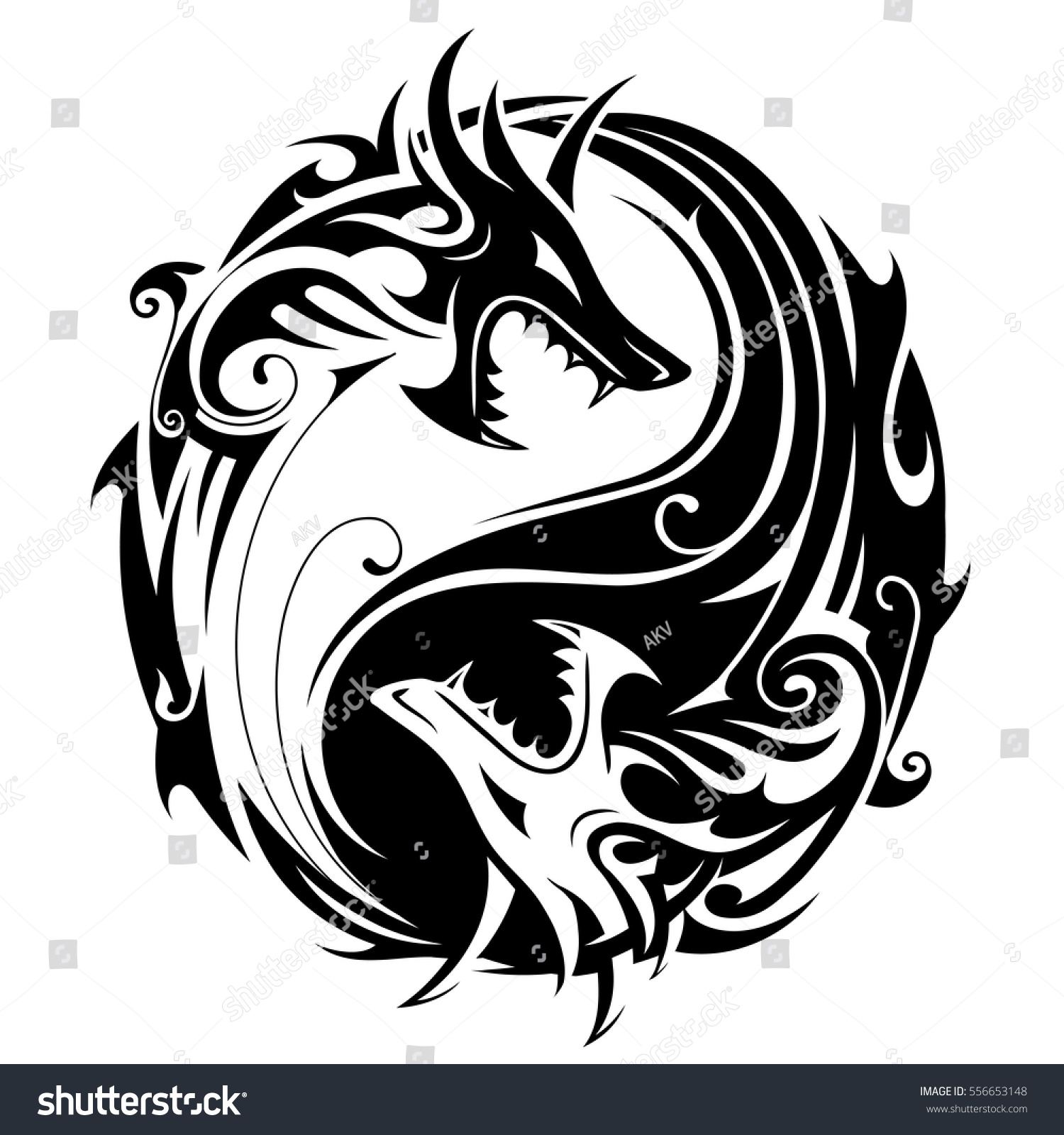 Yin Yang Tattoo Symbol Shaped Two Stock Vector Royalty Free